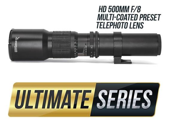 Lente Tele 500mm Ultimaxx + Adaptador Para Canon
