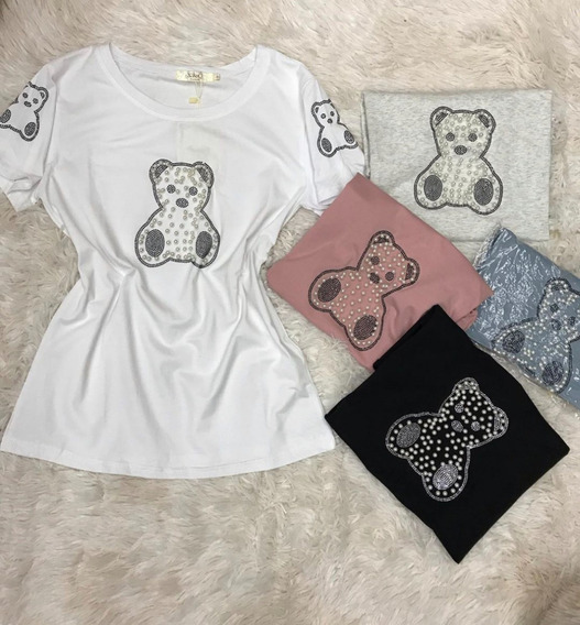 Blusa T-shirt Feminin Bordado Perolas Animal Print Importado