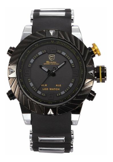Relógio Mascuino Shark Sh 168 Original Dual Time Preto
