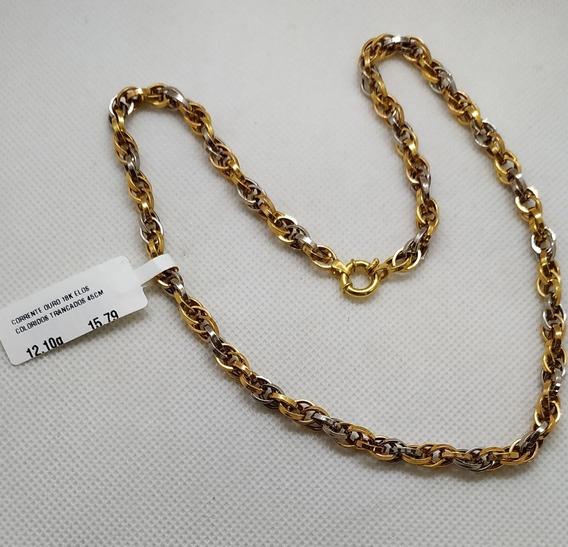 Corrente Em Ouro 18k Elos Coloridos Trançado 45cm 12,10g