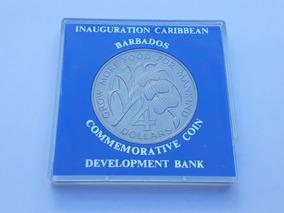Moeda Barbados (38mm) - Fao - 4 Dollars - Tiragem 32.000