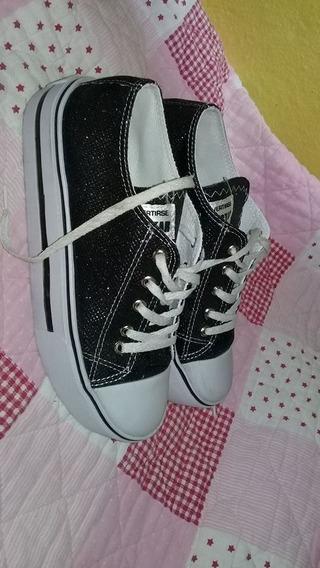 Zapatillas Con Gliter Negro