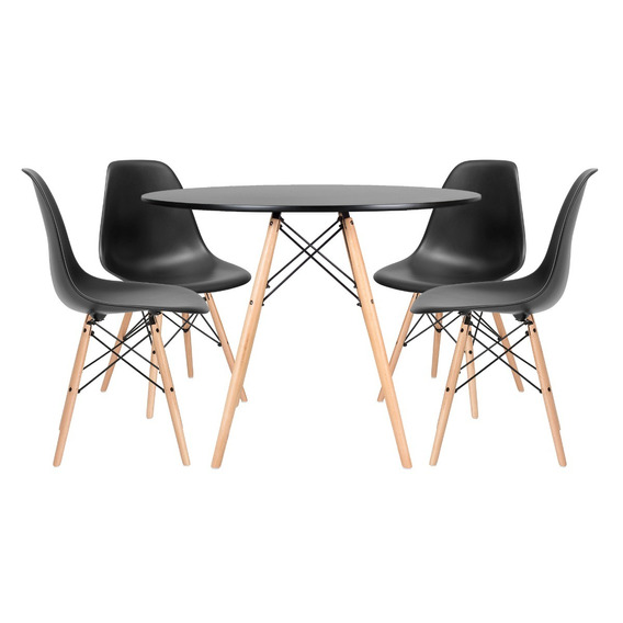 Kit Jantar Eames Wood Mesa 100 Cm 4 Cadeiras Dsw Cores