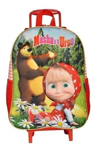 Mochilete Infantil Masha E O Urso 3d Tam G Rodinhas Barata