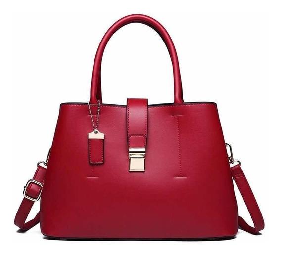 Bolso Mujer Marfil Original Paris Cuero Rojo