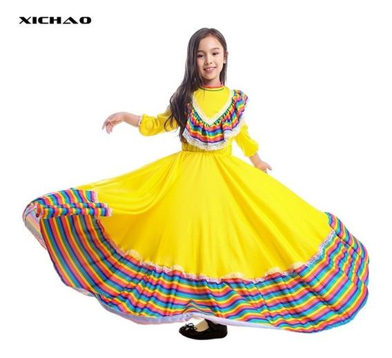 Vestido Disfraz Falda Fiesta Mexicana Ni As