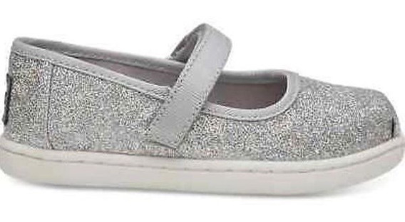 **toms Zapatos De Bebe Iridiscente Silver Glimmer 10 Mex