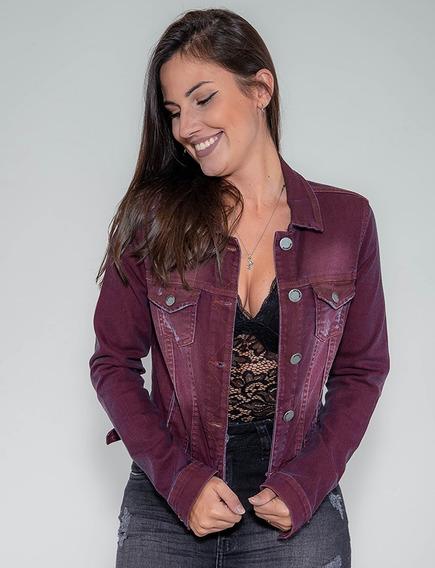 Jaqueta Jeans Confort Revanche Feminina Vinho Pronta Entrega