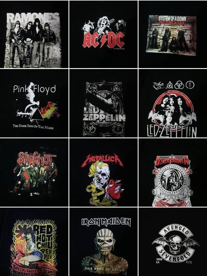 Camisetas Bandas De Rock Camisas Acdc, Ramones, Pink Floyd..