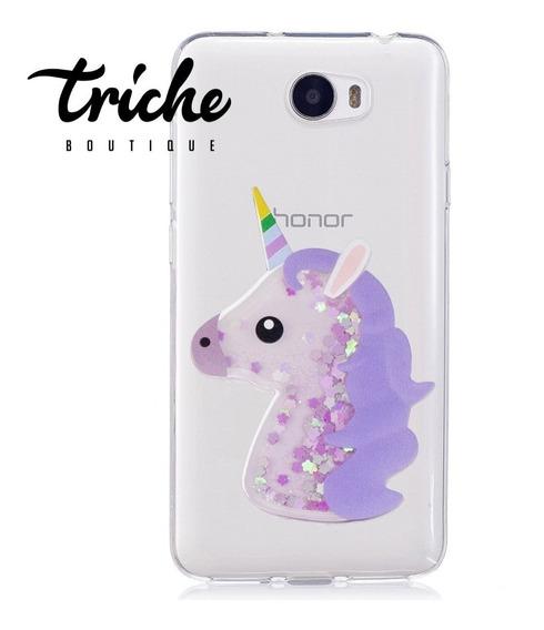 Funda Diseño Unicornio Brillos Pecera Huawei Y5-2 Y5ii Y5-ii