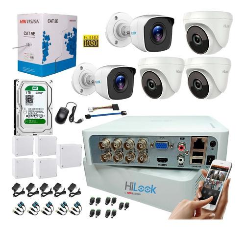 Kit Camaras De Seguridad 8 Ch 1080 + 5 Cam 1080 + D. 1 Tb +c