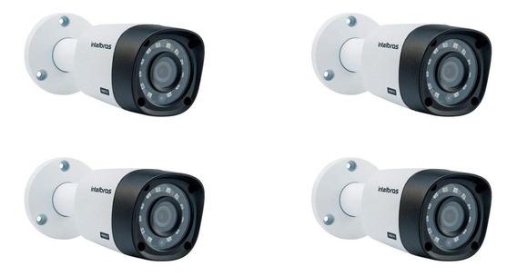 Kit Com 4 Câmeras Intelbras Vhd 3130b G4 Hdcvi Hd 720p Bullet Com Infra Para 30 Metros