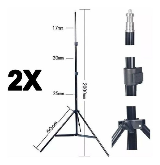 Kit 2x Tripé Iluminação Estúdio 2m P/ Led Flash E Softbox