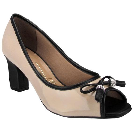 Sapato Feminino Peep Toe Vizzano Bege Preto 1818415