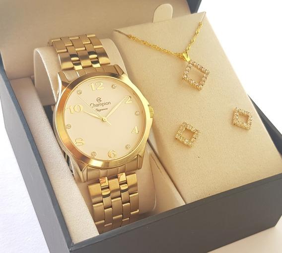 Relógio Champion Feminino Dourado Original + Colar E Brincos