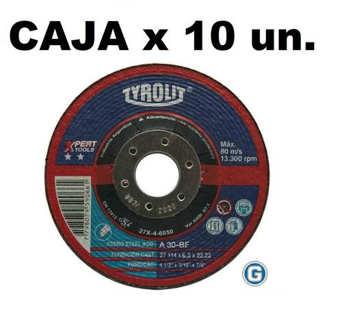 Disco Desbaste Tyrolit  Xpert 114 X 6,35 Mm Caja X 10 Un Gramabi Amoladora 4 1/2 Deprimido 115x6,3 Hierro 114x6,3 Metal