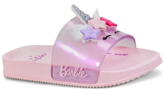 Chinelo Grendene 12/2018 Barbie 21689 Rosa/perolado