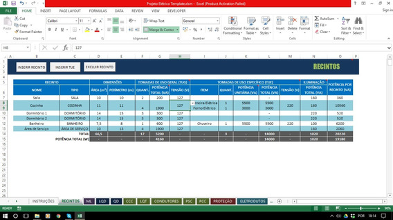 Planilha Dimensionamento De Projetos Elétricos (vba)