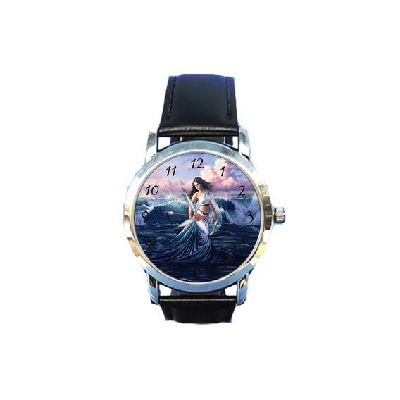 Relógio Iemanjá Orixá Rainha Do Mar Religião Espírita Couro