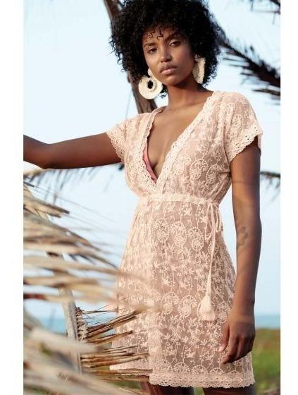 Salida De Playa Vestido Corto Color Durazno Para Dama