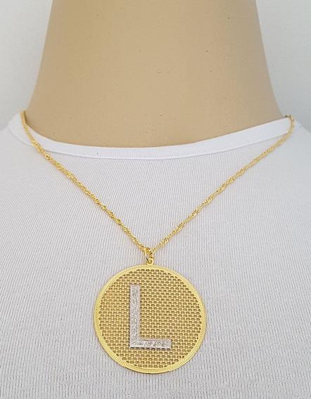 Corrente Feminina + Pingente Letra L Folheado Ouro 18k. Pl2