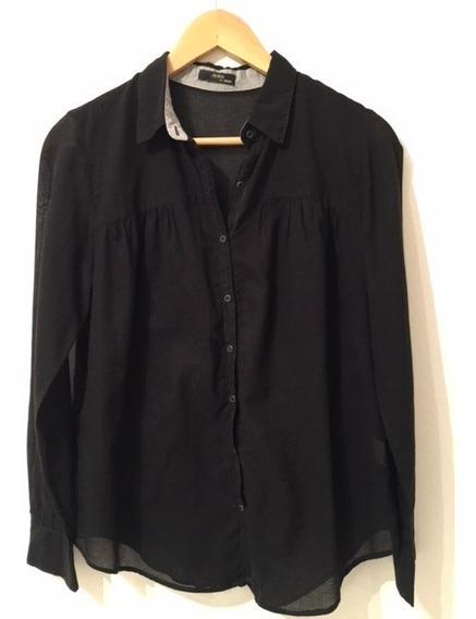 Camisa Negra De Algodón Semitransparente Con Recorte Ayres