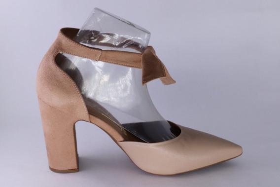 Sapato Salto Grosso Amarrar No Tornozelo Vizzano