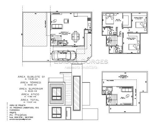 Sobrado Com 3 Dormitórios À Venda Com 113m² Por R$ 530.000,00 No Bairro Fazendinha - Curitiba / Pr - Eb+6024