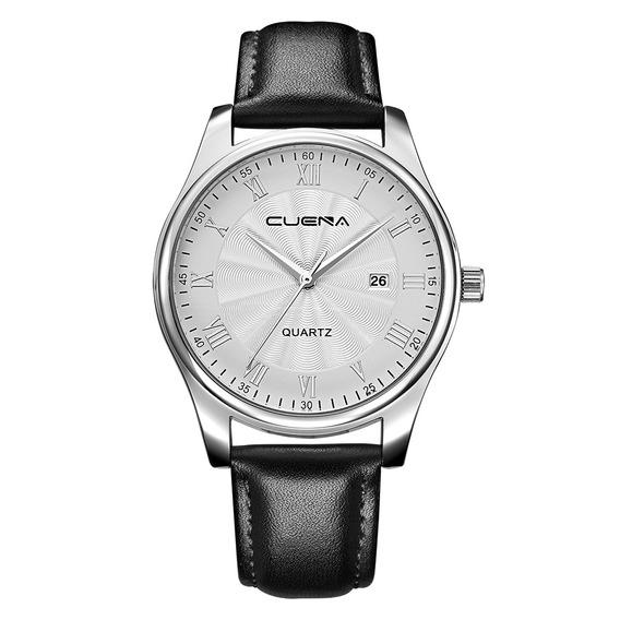 Reloj Pulsera Hombres Cuena Cuero Genuino Moda Casual