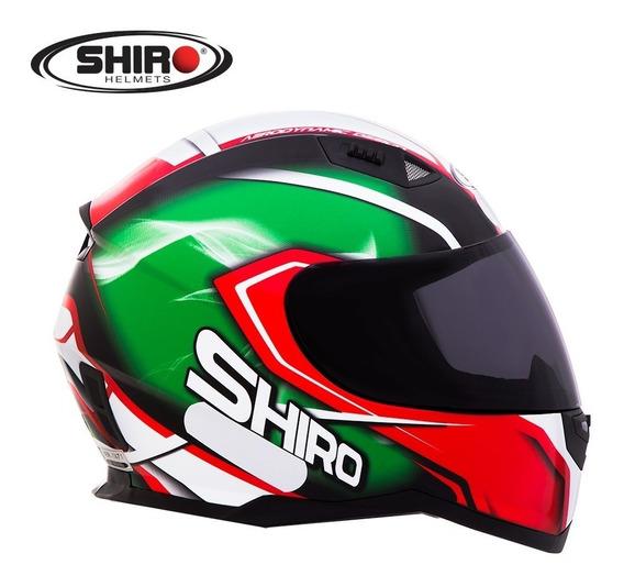Capacete Shiro Sh 881 - Motegi - Verde/vermelho