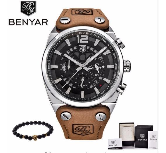 Relógio Benyar Aviador Black Original Preto C Garantia + Nf
