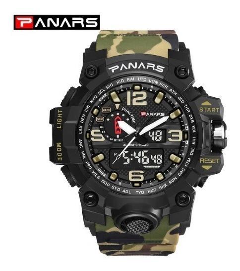 Relógio Masculino Militar Exército Verde Camuflado Panars
