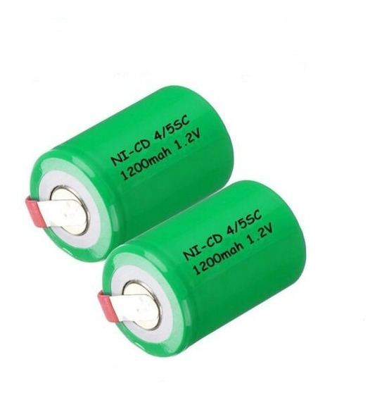 Kit 02 Baterias 4/5sc 4/5 Sub-c 1,2v 1200mah Ni-cd 2 Termi