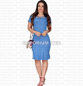 Vestido Jeans Midi Moda Evangelica Jovem Oferta Melhor Preço
