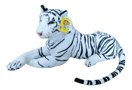 Tigre Branco Safári Realista Bicho De Pelúcia
