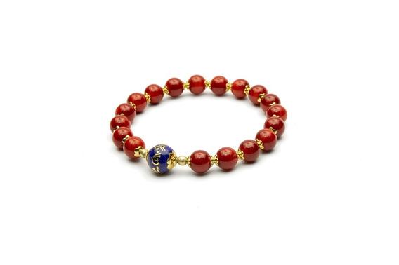 Japamala De Pulso Bodhisattva 18 Contas Coral & Enamel
