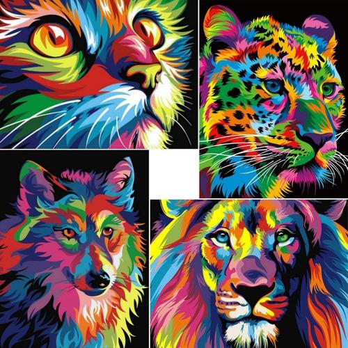 Kits De Pintura De Diamante 5d Animales 4 Unidades 30x40cms