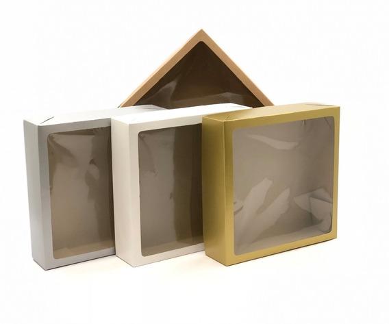 20 Caixas De Presente 25x25x6,5cm: Com Visor / Tampa E Fundo