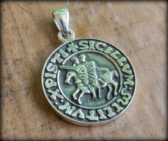 Pingente Medalha Templária X3 P P R Prata Maciça - 22,9 Gr.