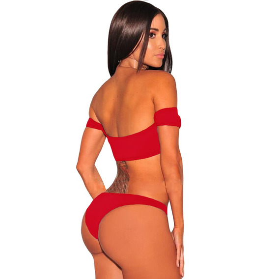 Sexy Women Bikini Set Swimsuit Lace Up Vermelho M