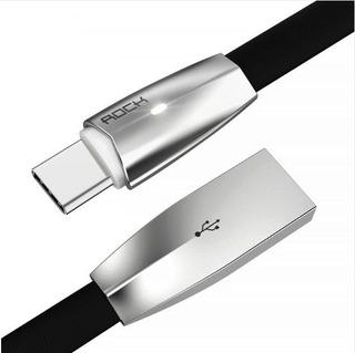 Cable Usb Tipo C Plano Con Luz Led Carga Rápida Y Datos 1.8m