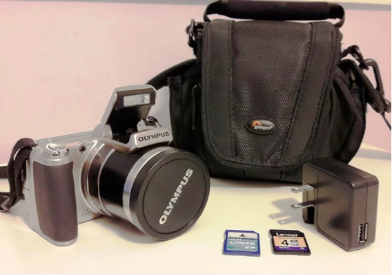 Camera Olympus Sp-800uz Prata + Memory Card + Mochila