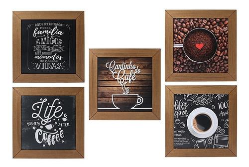 Imagem 1 de 7 de Kit 5 Quadros Decorativos Cantinho Do Café Rústico