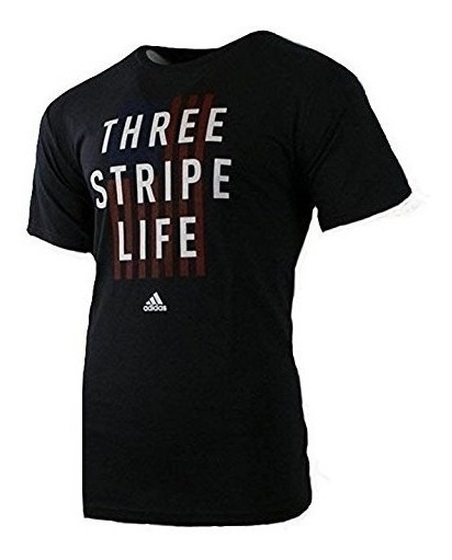 adidas Camiseta Playera Three Stripe Life Hombre Caballero