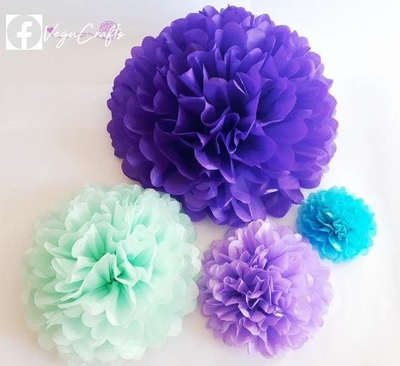 Flores De Papel, Flores Pompon 25 Ó 35 Cms En Papel China