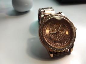 Relógio Feminino Geneva Pulseira Bronze Com Strass