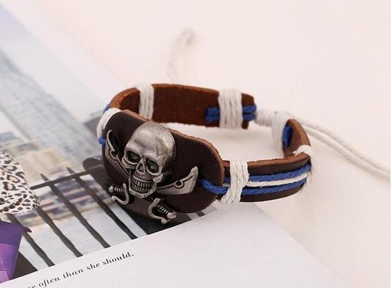 Brazalete/pulsera Piel De Vaca Acero Inoxidable Pirata