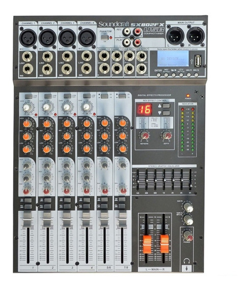 Mesa De Som 8 Canais Mixer Sx-802 Fx Usb Soundcraft