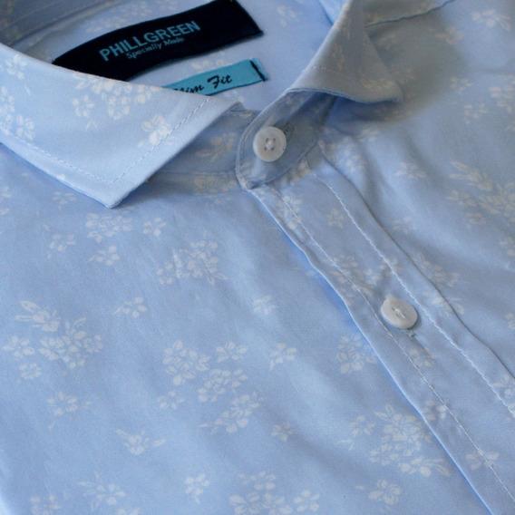 Camisa Algodón C/spandex Estampa Flores Phillgreen