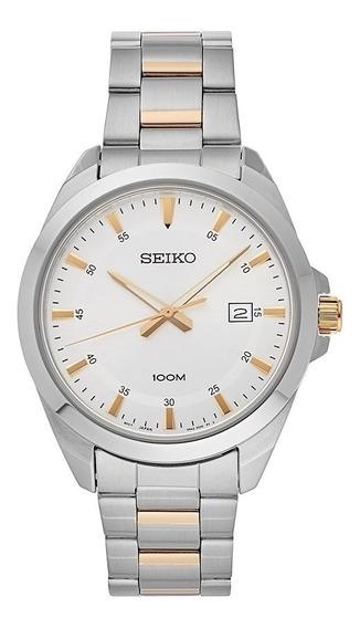 Reloj Hombre Seiko Sur211 Analogo Original Quartz Plateado